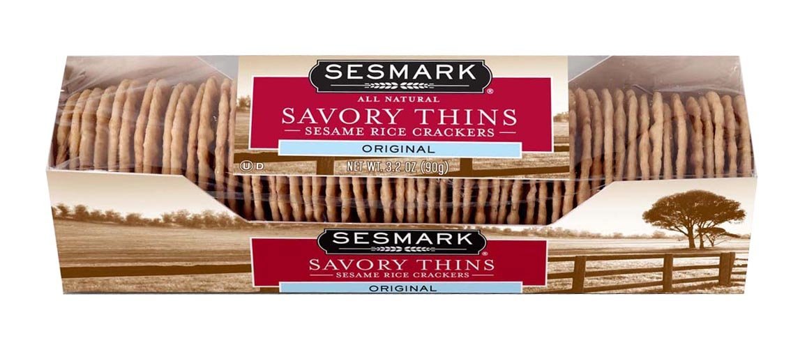Sesmark Original Savory Thins, 3.2 Ounce - 12 per case.