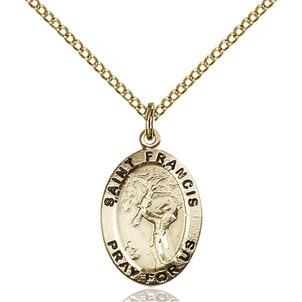 Gold Filled St. Francis of Assisi Pendant 3/4 x 1/2 inches with Gold-Filled Lite Curb Chain