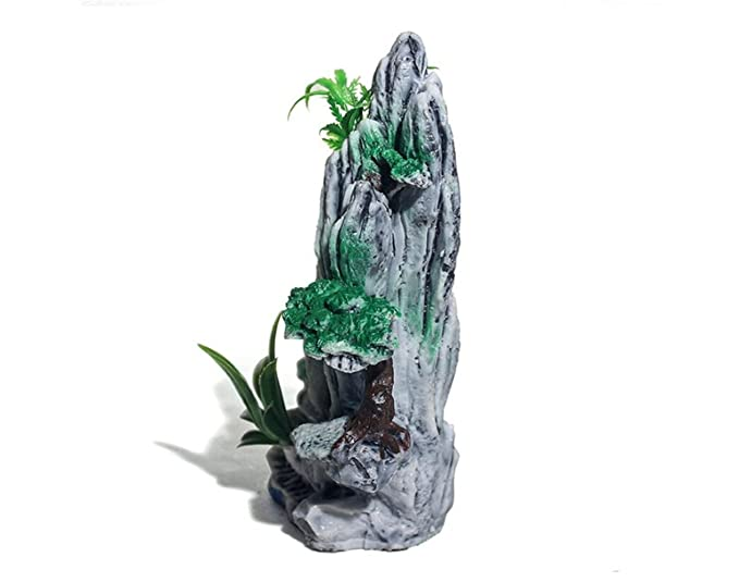 LMKIJN Decoración del Tanque de Peces Ornamento de Roca de Acuario Montaña con árbol de Puente para Decoraciones de Paisaje de Tanque de Pescado para la ...