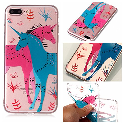 iPhone 7 Plus Hülle , Leiai Modisch Pferd TPU Transparent Clear Weich Tasche Schutzhülle Silikon Handyhülle Stoßdämpfende Schale Fall Case Shell für Apple iPhone 7 Plus