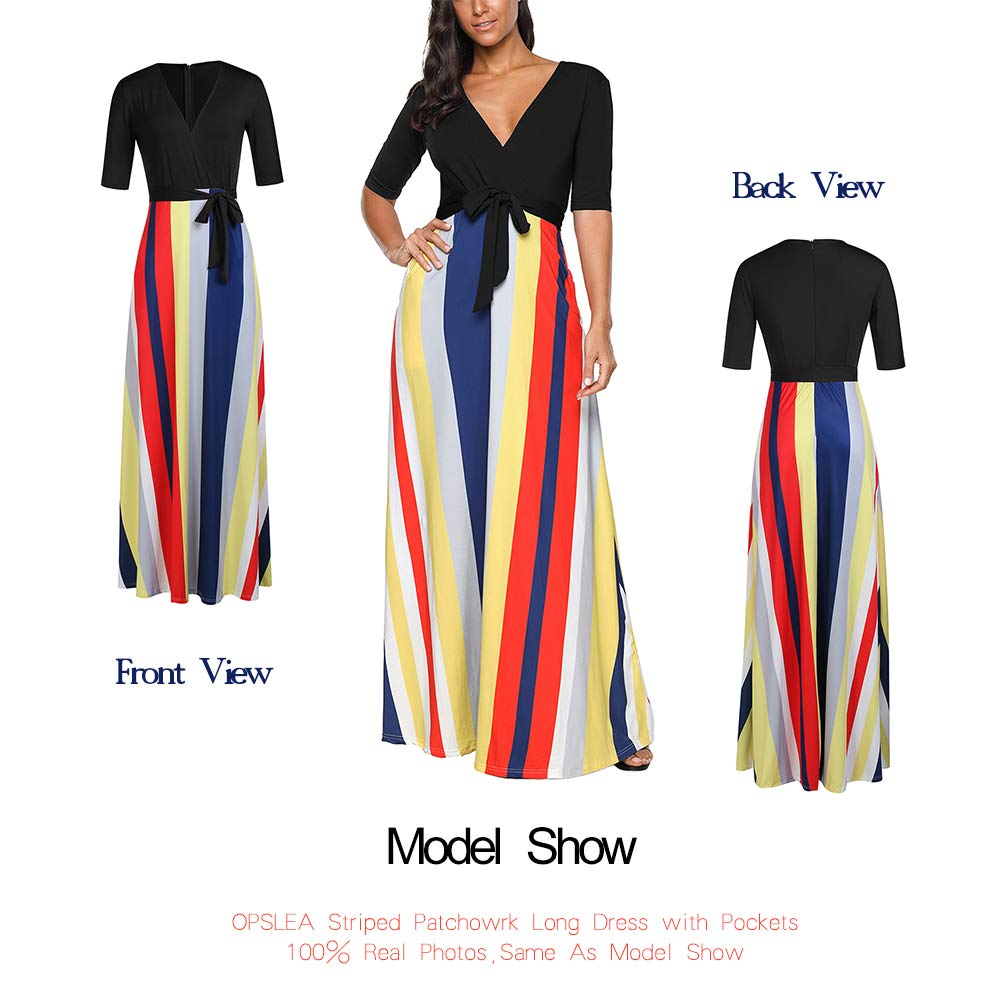 618ea2ce9553 OPSLEA Women Long Dress V Neck Colorful Striped Casual Maxi Dress with  Pockets at Amazon Women's Clothing store: