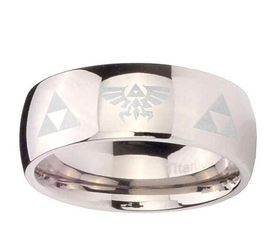 The Legend of Zelda Titanium Steel Triforce Costume Ring Silver