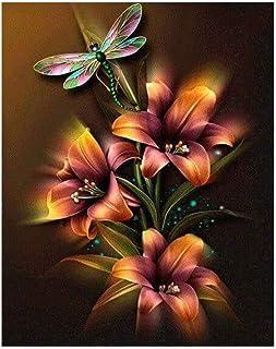 Providethebest 5D Bricolage Lily Floral Dragonfly résine Diamant Peinture Point de Croix Broderie Mosaïque Photos Artesanat Provide The Best