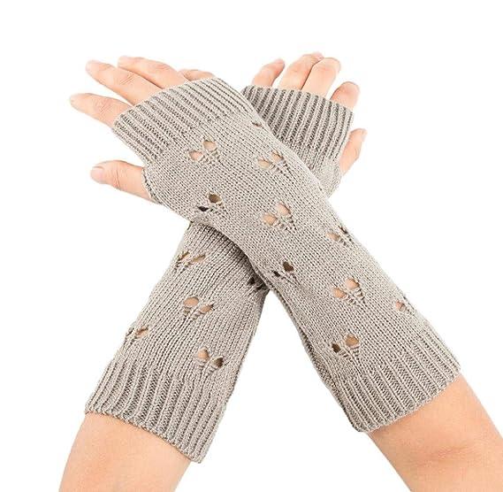 Armstulpen Handschuhe Fingerlos Handstulpen Pulswärmer hellgrau Geschenk