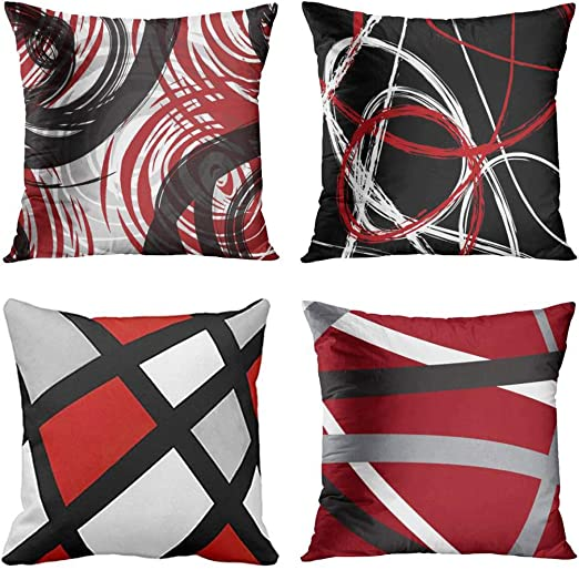 Amazon.com: Emvency Set of 4 Throw Pillow Covers Red and Black