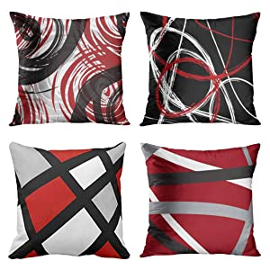 Emvency Set of 4 Throw Pillow Covers Red and Black White Gray Pattern Retro Abstract Stripes Spiral Decorative Pillow Cases Home Decor Square 18x18 Inches Pillowcases