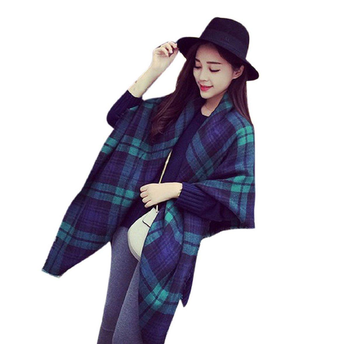 Ukamshop 1PC Frauen übergroß luxus Schottenmuster Pashminas gemütlich Decke Plaid Stolen