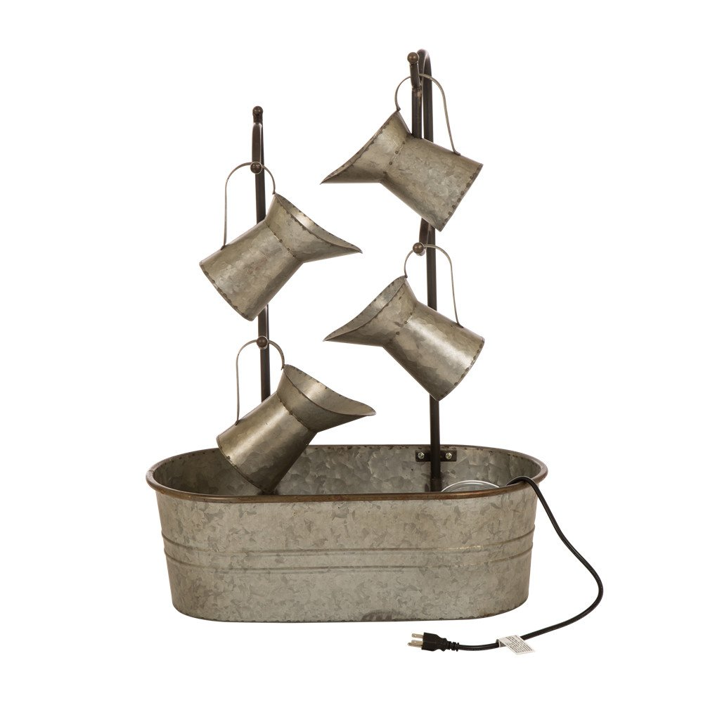 Glitzhome Metal Tiered Water Fountain with Decorative Faucet Galvanized Garden Tools Farmhouse Decor Style 1
