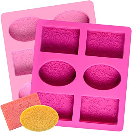 SJ Oval Silicone Soap Molds 2 Pcs 6-Cavity Silicone Molds Loaf Muffin Baking Pans Nonstick /& BPA Free Chocolate Cheesecake Making Trays Red