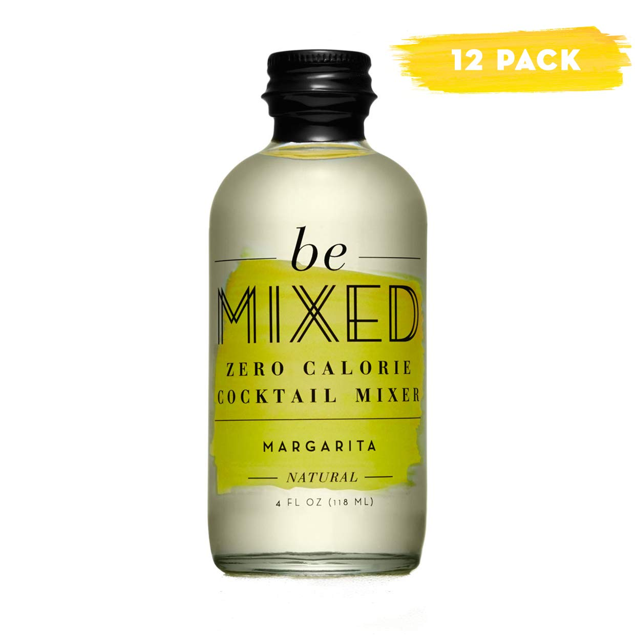 Zero Calorie Margarita Cocktail Mixer by Be Mixed, Low Carb, Keto Friendly, Sugar Free and Gluten Free Drink Mix, 4 Fl Oz Glass Bottles, Pack of 12 by Be Mixed
