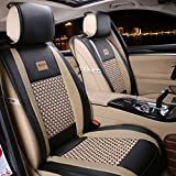 seat covers for toyota tundra - Car Seat Cover Cushions PU Leather, FuriAuto Front Rear Full Set Car Seat Covers for 5 Seats Vehicle Suitable for Year Round Use(Black)