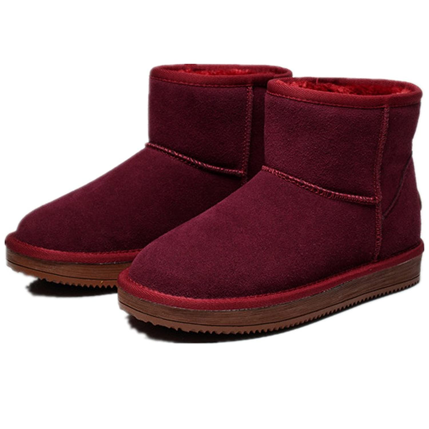 Fur Covered Womens Short version Snow Boots Fully Fur Lined Waterproof Winter Snow Boots Wine Red