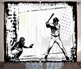 Ambesonne Sports Decor Collection, Baseball Themed American Sport Team Rustic Design Silhouette Illustration Image, Living Room Bedroom Curtain 2 Panels Set, 108 X 84 Inches, Black and White