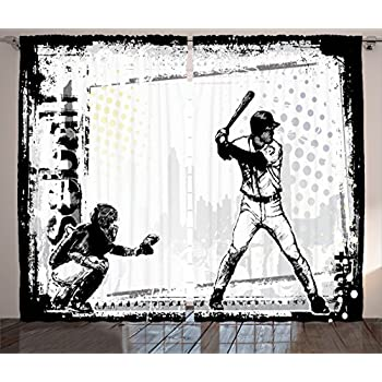 Ambesonne Sports Decor Collection Baseball Themed American Sport Team Rustic Design Silhouette Illustration Image