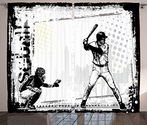 Ambesonne Sports Decor Collection, Baseball Themed American Sport Team Rustic Design Silhouette Illustration Image, Living Room Bedroom Curtain 2 Panels Set, 108 X 84 Inches, Black and (Sports Silhouettes)