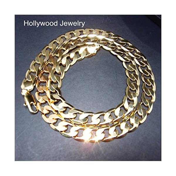 Gold-Chain-Cuban-Necklace-9MM-Miami-Link-w-real-solid-clasp-24K-USA-Patented-w-Signed-Warranty