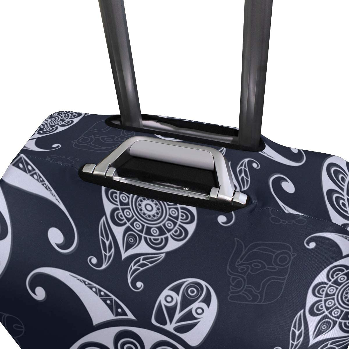 Travel Luggage Cover Grey Pattern Turtle Dark Blue Bckground Suitcase Protector