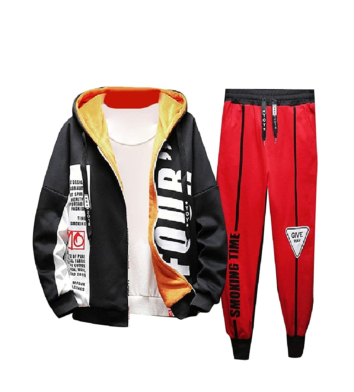 Unastar Men Warm Active Fall Winter 2 Piece Set Stylish Tracksuit Outfit