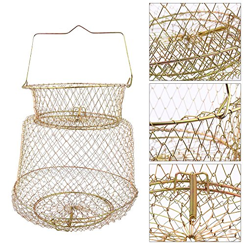 Fish Basket Mesh Fishing Cage,Outdoor Foldable Steel Wire Fishing Pot Trap Net Bait Crab Minnow Crawdad Cage Fishing Gear for Keeping Fishes Smelt Minnows Crab Shrimps Lobsters