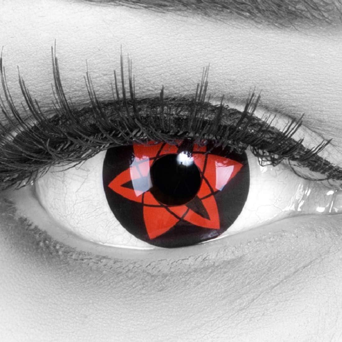MeralenS Lentillas de Color Rojo Negro Sasukes Mangekyou 1 par. para Halloween Carnaval, Cosplay de Anime, Gratis Estuche de lentillas sin graduación