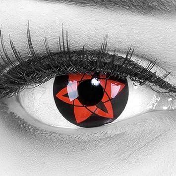 MeralenS Lentillas de Color Rojo Negro Sasukes Mangekyou 1 par. para Halloween Carnaval, Cosplay de Anime, Gratis Estuche de lentillas sin graduación: Amazon.es: Salud y cuidado personal
