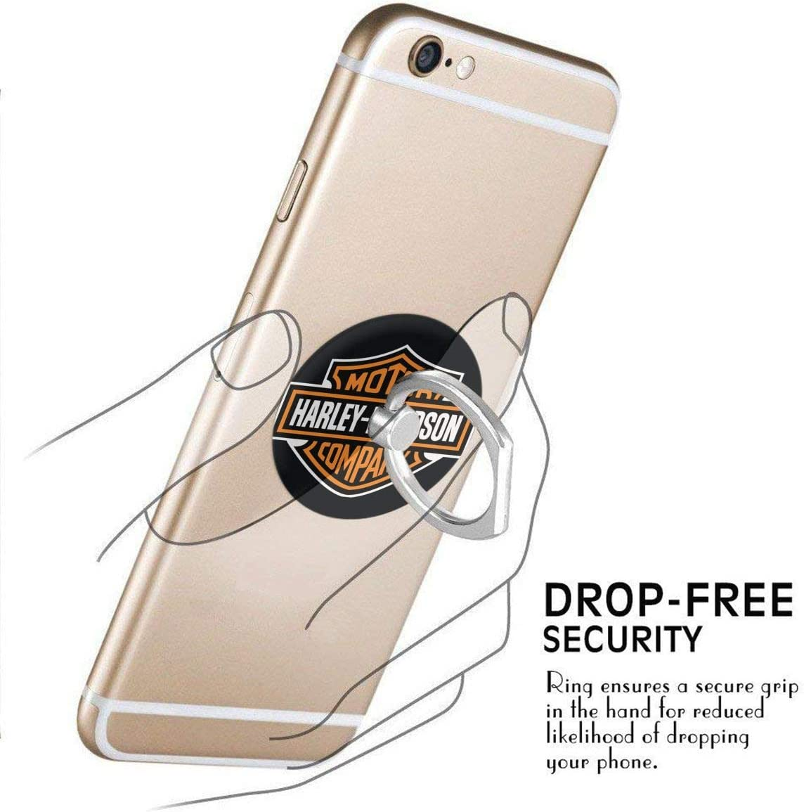 iPhone Or Tablets BBABC Harley Davidson Logo 360 Degree Rotating Ring Stand Grip Mounts Phone Holder for Any Smartphones