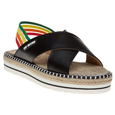 Moschino Espadrille Cross UkAmazon Love Sandals 5 Strap Black co MVqSUzp