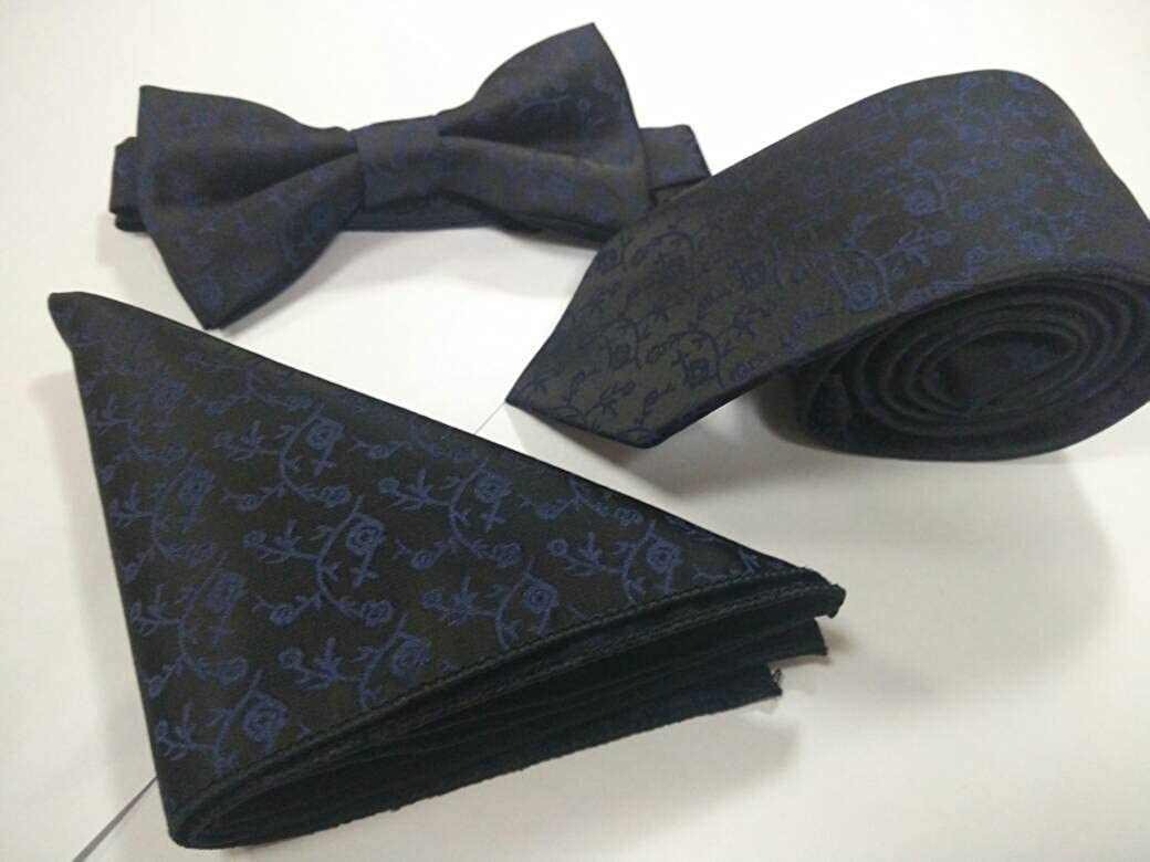 /& Pocket Square Tie Silk Textured Polyester 3 Piece Set BLUE MAGIC Bow Tie