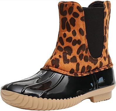 Rain Boots for Women Leopard Duck Boots