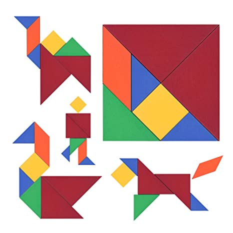 Amazon M Mooham 木製タングラムパズル 32ピース 教育的で