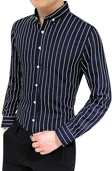 Yvelands Camisa a Rayas Hombres Camisa de Manga Larga a Rayas de Solapa Informal Elegante Traje de Negocios Aptos Camisa de Estilo empresarial: Amazon.es: Ropa y accesorios