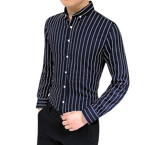 Yvelands Camisa a Rayas Hombres Camisa de Manga Larga a ...