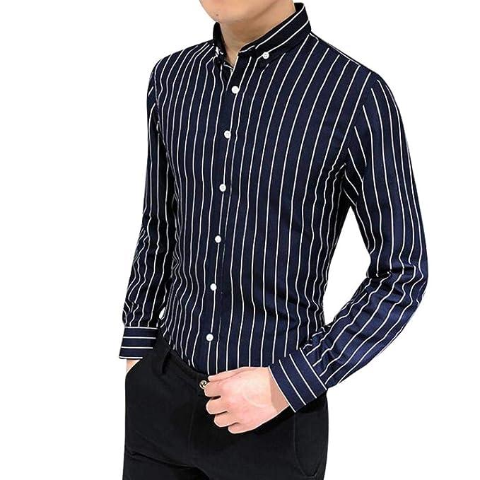 Yvelands Camisa a Rayas Hombres Camisa de Manga Larga a Rayas de Solapa Informal Elegante Traje de Negocios Aptos Camisa de Estilo empresarial: Amazon.es: ...
