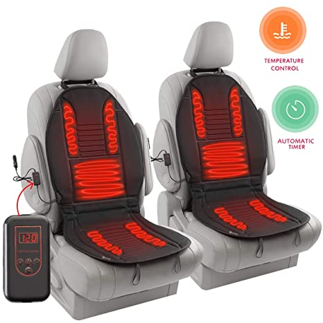 Zento Deals 12V Heated Car Seat Cushion 2 Pack Quality Comfortable Heating Warmer Pad Secured