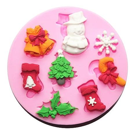 Gespout Moldes para Magdalenas Navidad Molde de Cookies Niños de Moldes Pastelería Galletas de Silicona Aplicar