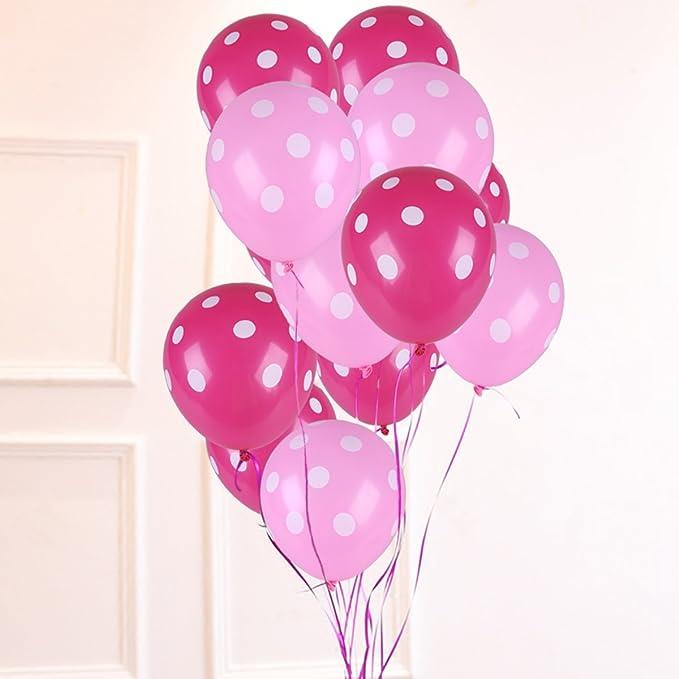 NUOLUX 50 piezas de látex de polka punta 12 pulgadas de globos para la decoración fiesta de cumpleaños de la boda (Rosa roja y rosa)