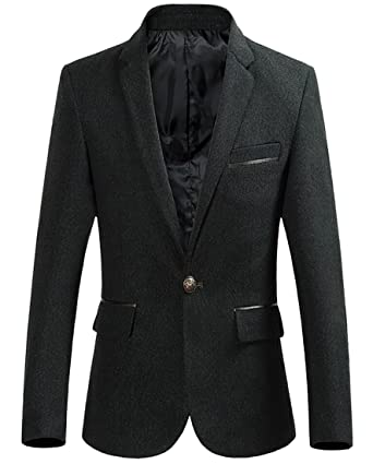 ainr Men Lapel Slim Fit One Button Casual Blazer Suit Jacket Coat