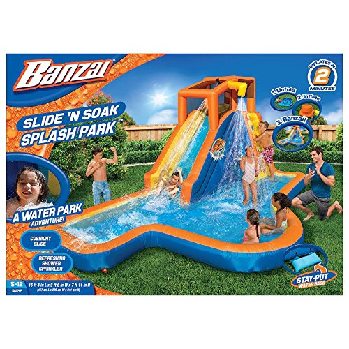 - Banzai Slide 'N Soak Splash Park Constant Air Water Slide (Nearly 8ft Tall and Includes Blower Motor)