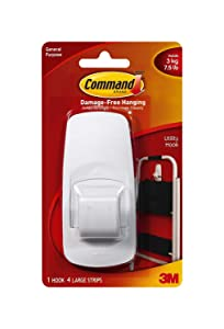 Command 17004-6_Value Jumbo Plastic Hook with Adhesive Strips, 6 Hooks, White
