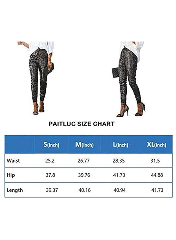Paitluc Womens Joggers Pants Sequins Fashion Flowy Pants Black Pants Slacks for Women Jogger Pants for Women with Drawstring