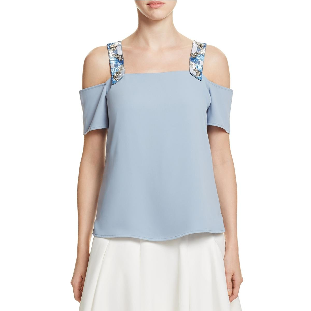 Cooper & Ella Womens Sequined Open Shoulder Blouse Blue XS by Cooper & Ella