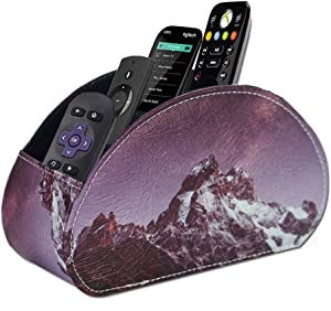 QIELIZI Remote Control Holder, PU Leather Remote Caddy Desktop Organizer with 5 Spacious Compartments for TV Remotes/Media Controllers/Office Supplies (Snow Mountain)