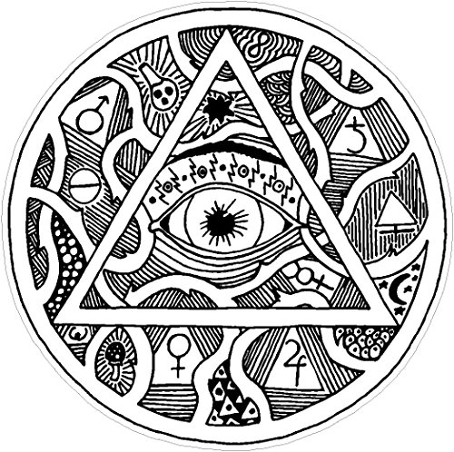 Oval eye of providence masonic engraved 4x4 inches all-seeing light glory triangle mankind graffiti black and white america united states color sticker state decal vinyl - Made and Shipped in USA