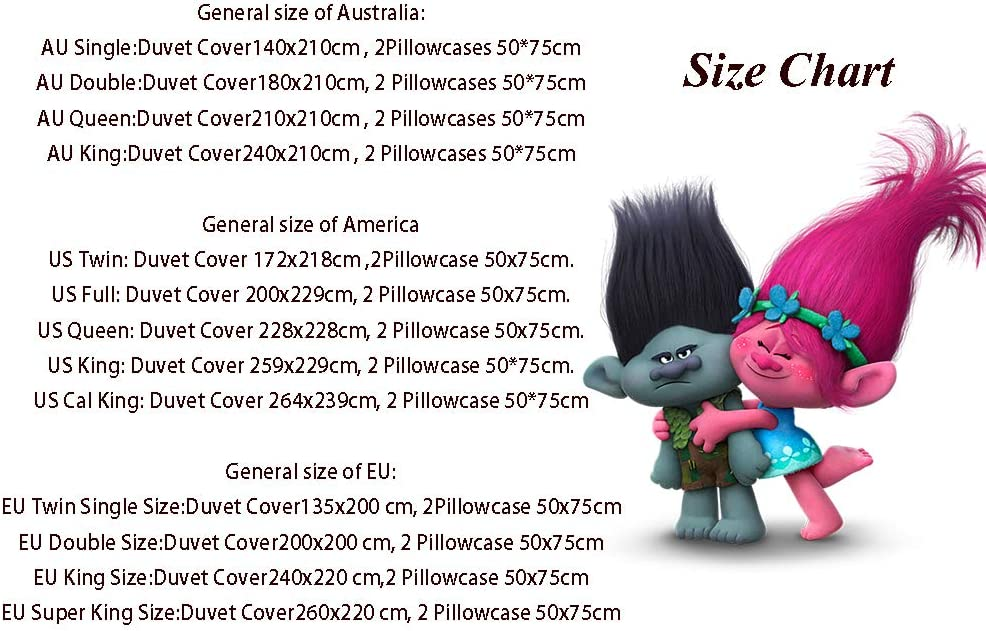 for Any Bed Room Or Guest Room 1 Comforter Cover /& 2 Pillowcases EU Twin Sing 135 x 200 cm Movie Cartoon Character Trolls 2 World Tour Comforter Bedding Set 3 Piece Set Printed Comforter Set 3Pcs