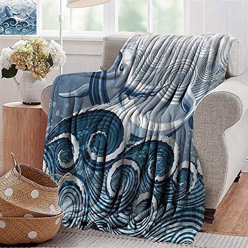 (Xaviera Doherty Custom Sofa Bed Throw Blanket Whale,Stormy Wavy Spirals Animal 300GSM,Super Soft and Warm,Durable Throw Blanket 30