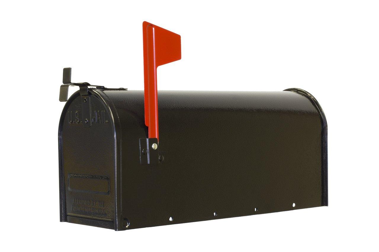 Fulton 1C-BLK Standard Post Mount Steel T-1 Mailbox, Black Finish