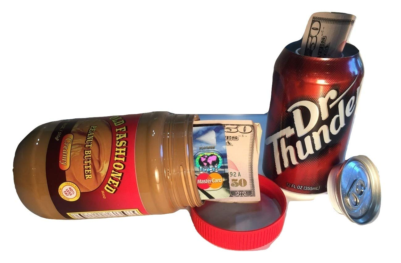 Bundle: Diversion Secret Stash Peanut Butter Safe Jar with Free Can Container to Hide Money Jewelry Stuff