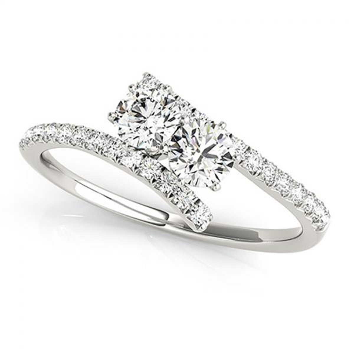 Star Retail CZ Simulated Lab Created Diamond Tension Style Shank Forever US Two Stone Ring 925 Sterling Silver Plated 0.75ct
