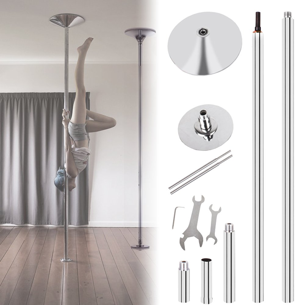 Ridgeyard 45mm Portable Dance Pole Kit Fitness Dancing Exercise Dance Dancing Strip Spinning/Static Pole Height Adjustable from 7'4'' to 9' by Ridgeyard