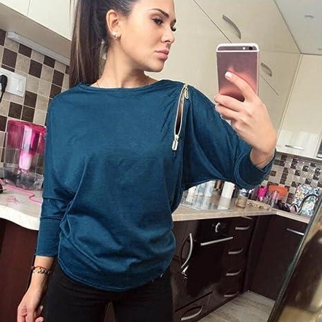 ... manga larga básica inferior camiseta tops suéter chaqueta sudadera blusa camisa mono vestido pijamas traje ropa (L, Azul): Amazon.es: Ropa y accesorios